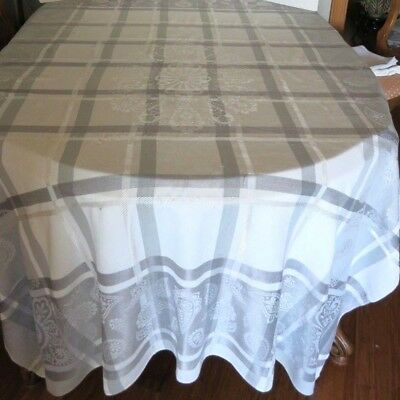 """Vtg - White With Grey Damask Tablecloth - 60 X 78"""" - Very Nice"""