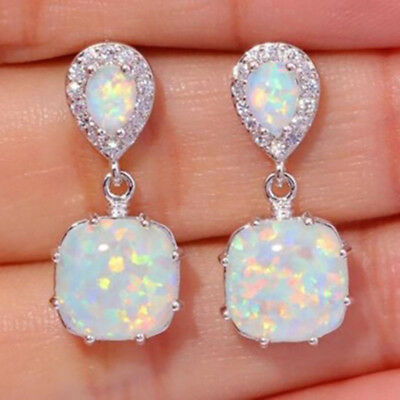 1Pair Elegant Unique Fire Opal 925 Silver Stud Earrings for Bridal Party Jewelry