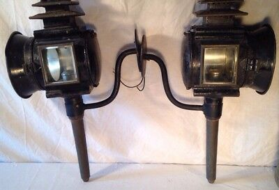 Antique Pair Of Victorian Carriage Lanterns Electrified