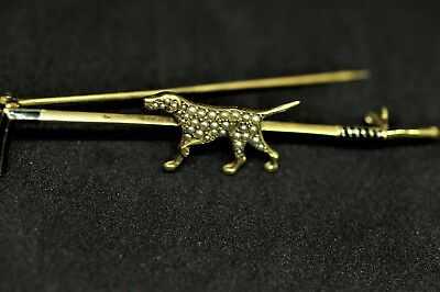 Pearl & Enamel Pointer Dog Hunting 14k Gold Pin Vintage RARE