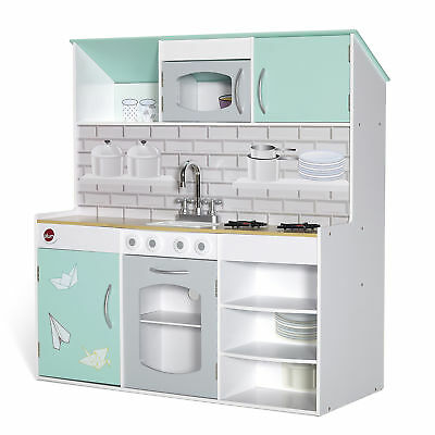 Wooden 2 in 1 Peppermint Townhouse Kitchen Indoor Role Play Kids