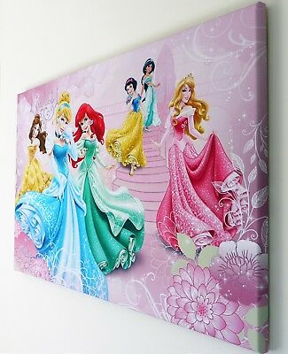 Disney Princess, Canvas Wall Art Picture 18 X 32 Inch Framed Print