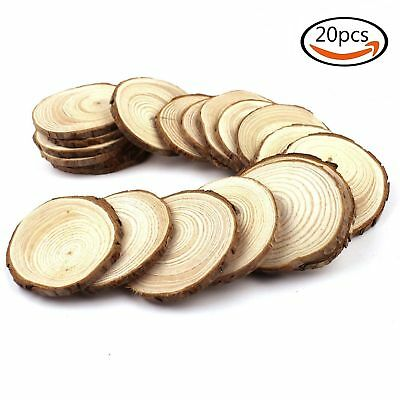 "COCESA 20pcs 2""-2.5""  Natural Wood Slices Circles with Tree Bark Log Discs"