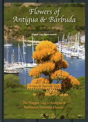Antigua & Barbuda 2018 MNH Flowers Dagger Log 1v S/S Nature Boats Ships Stamps