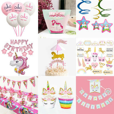 Girls Magical UNICORN Birthday Party Tableware Gift Boxes Balloons Decorations
