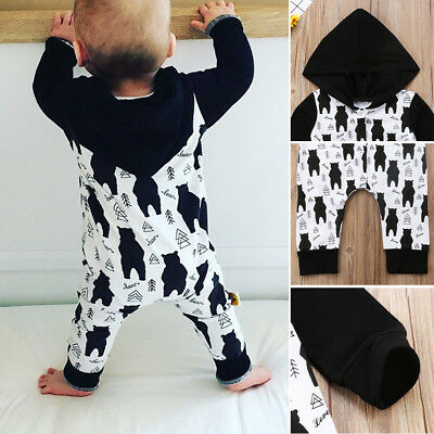 Pattern Bear Kids Baby Boy Girl Hooded One Piece Jumpsuit Romper Outfits Clothes