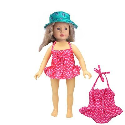 Doll Clothes Rose Red Swimsuit Set for 18'' American Girl Our Generation Doll