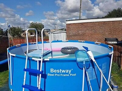 bestway 12ft pool with ladder and cleaning equipment