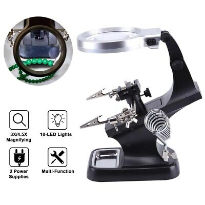 Helping Hand Led 3X 4.5X Magnifying Glass Clamp Stand Soldering Weld Holder Set