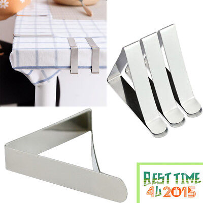 4/8 Steel Triangle Table Cloth Cover Clips Quality Metal Pegs Clamps Picnic Prom