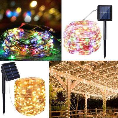 100- 200LED Outdoor Solar Powered 10M 20M Copper Wire Light String Xmas Party
