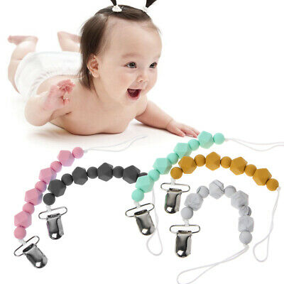 Baby Silicone Teething Pacifier Clips Polygon Shape Beaded Pacifier Holder Toy