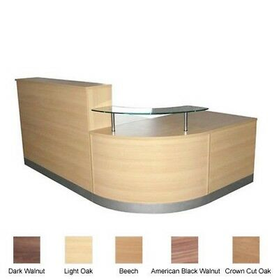 Large Curved Reception Desk | Quality L-Shape Office Reception Counter 5 Colours