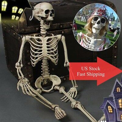 Full Size Human Skull Poseabe Skeleton Anatomical DD Halloween Party Decoration