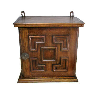 Small Hand Carved Oak  Kitchen Apothecary  Bathroom Wall Cabinet  Ornate Funky
