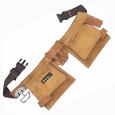 Pocket Double Tool Belt Genuine Leather Work Pouch Joiner Nail Bag Work Apron