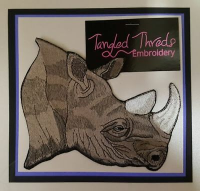 "Rhino, Rhinoceros Embroidered Patch 6"" x 5"""