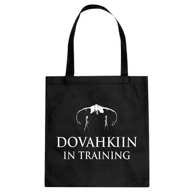 Dovahkiin in Training Cotton Canvas Tote Bag #3698