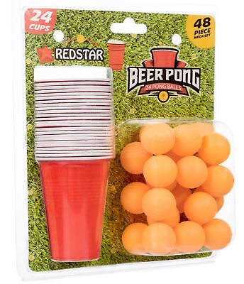 Beer Pong Game Novelty Adult Drinking Student Stag Hen Do Fun 24 Cups-24 Balls