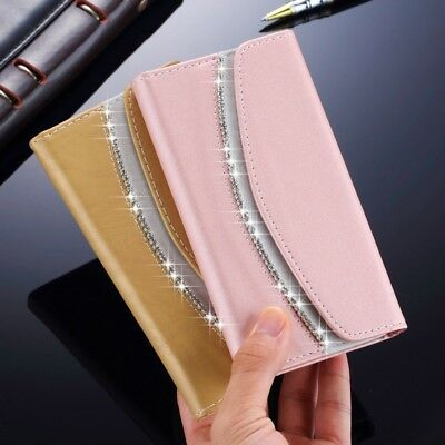 Womens Bling Diamond Leather Purse Wallet Flip Case Cover For iPhone XS Max 8 7