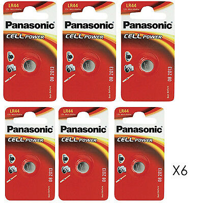 Genuine 6X Panasonic Lr44 1.5V Alkaline Button Cell Batteries Lr 44 A76 Hexbug