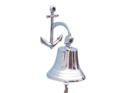 "Chrome Plated Solid Aluminum Ship's Bell 9"" w/ Anchor Bracket Hanging Decor New"