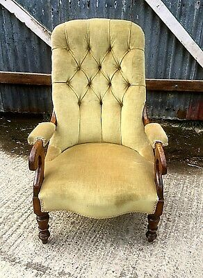 Victorian Mahogany Button Back Armchair