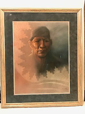 "Navajo Artist David Johns Original Pastel ""Man In A Grey Suede Hat"" Medicine Man"