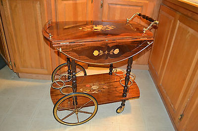 Vintage Italian Inlaid Marquetry Wood Serving Bar Tea Cart Drop Leaf Gorgeous