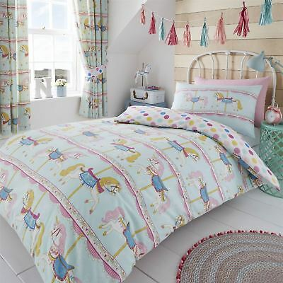 HLC Girls Vintage Carousel Horses Teal Reversible Polka Dot Duvet Cover Curtain