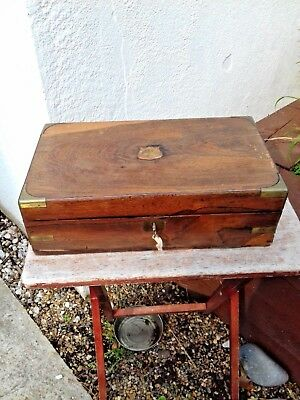 ANTIQUE VINTAGE WOODEN CAMPAIGN  WRITING SLOPE with KEY