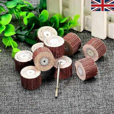 UK STOCK 10Pcs Rotary Tool Flap Wheel Cloth Emery Head & 3mm Mandrel 240 Grit