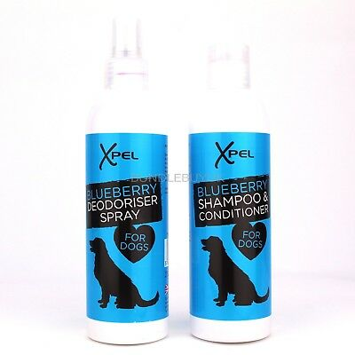 Xpel Dog Puppy Shampoo & Conditioner + Deodoriser Spray  Blueberry Bundle