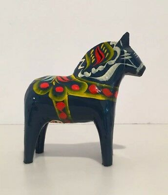 "Nils Olsson 4"" Blue Swedish Dala Painted Horse"