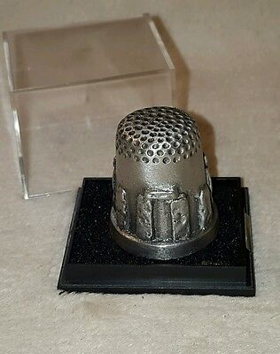 Rowena Souvenirs Pewter Thimble Made in England Stonehenge with case