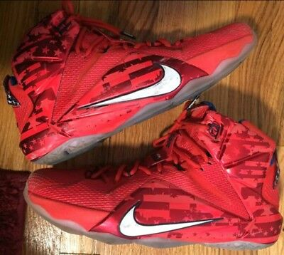 14589953ac4b Nike LeBron XII 12 Independence Day 4th of July Crimson Mens size 13