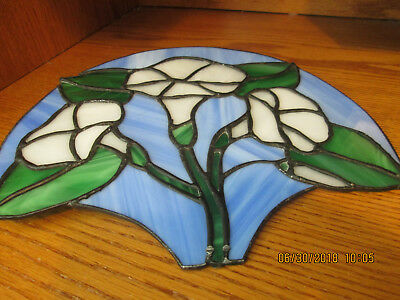 """Stained Glass Window Display Blue Green White Sun Catcher 10"""" x 8"""""""