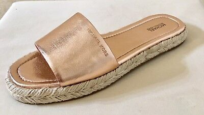 975709cbe851 Women MK Michael Kors Dempsey Slides Espadrille Metallic Leather Rose Gold