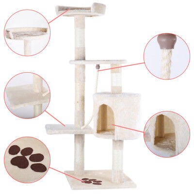 """46"""" Cat Tree Bed Furniture Scratching Tower Post Condo Kitten Pet House Beige"""