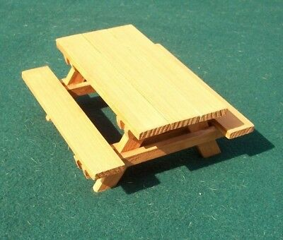 Dollhouse Miniature Cedar Wood Picnic Table with Benches - Natural Cedar Stain