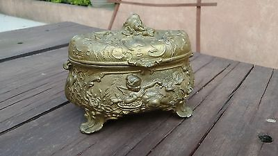 1900´s ANTIQUE FRENCH?? BRONZE JEWELRY FOOTED BOX WITH CHERUBS RESTORE PROJECT