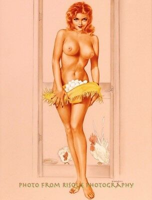 "Nude Woman with Chicken Eggs 8.5x11"" Photo Print Naked Female Alberto Vargas Art"