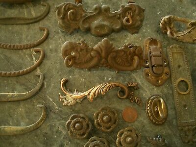 20 Antique Vintage Brass Tone Metal Drawer Pulls Knobs Latches Hardware Parts