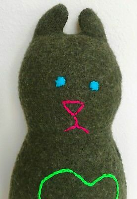 "TAIKA One of a Kind 12"" Plush Stuffed Animal Cat Kitty Upcycled Wool Handcrafted"