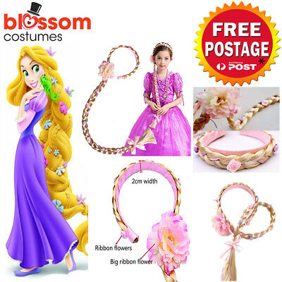 K654 Rapunzel Girls Disney Princess Wig Headband Hair Plait Costume Accessory