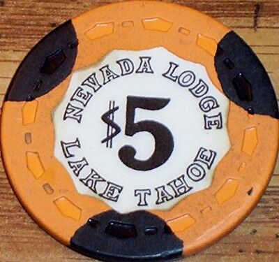 Old $5 NEVADA LODGE Casino Poker Chip Vintage Antique Small Crown Lake Tahoe NV