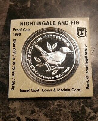 1996 Israel 2 Sheqalim Fig Nightingale Bird Song of Song Silver Proof Coin