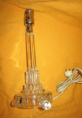 Vintage ART DECO TABLE LAMP Boudoir LEVITON PATENTED Clear Glass NO SHADE