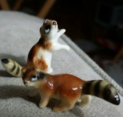 Vintage ceramic 2 RACCOONS tiny figurines