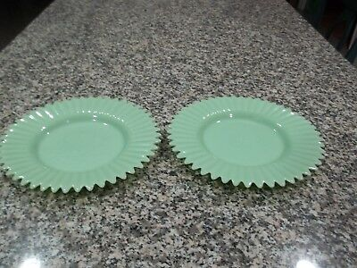 Over and Back Indoor Outfitters Lot of 2 Jadeite Dinner Plates - DISCONTINUED